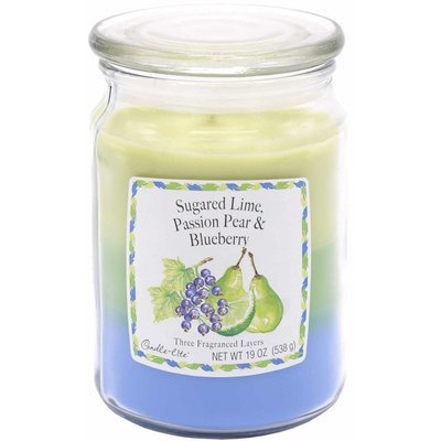 Candle-lite 3-Layer Collection Scented Glass Jar Candle 19 oz 538 g - Sugared Lime Passion Pear Blueberry