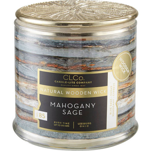 Candle-lite CLCo Candle Natural Wooden Wick 14 oz luxury scented candle ~ 90 h - No. 18 Mahogany Sage