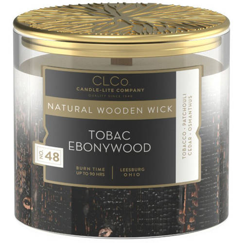 Candle-lite CLCo Luxury Scented Candle Wooden Wick 14 oz - No. 48 Tobac Ebonywood