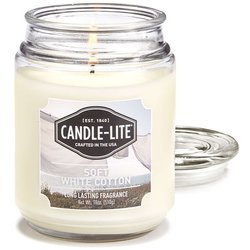 Candle-lite Everyday Collection Large Scented Jar Glass Candle 18 oz 145/100 mm 510 g ~ 110 h – Soft White Cotton