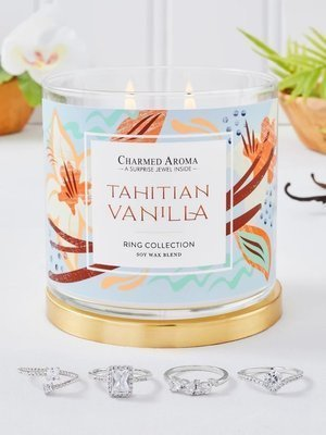 Charmed Aroma jewel soy scented candle with Silver Ring 12 oz 340 g - Tahitan Vanilla