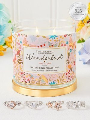 Charmed Aroma jewel soy scented candle with Silver Ring 12 oz 340 g - Wanderlust