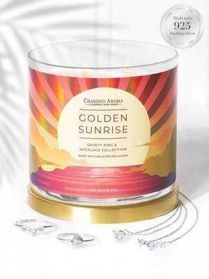 Charmed Aroma jewel soy scented candle with Silver Ring & Necklace 12 oz 340 g - Golden Sunrise
