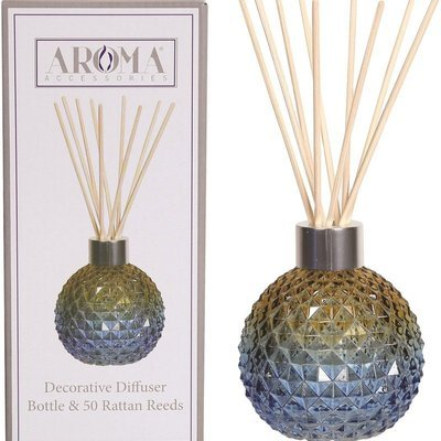 Woodbridge empty glass reed diffuser with 50 rattan reeds set - Blue Amber Ombre
