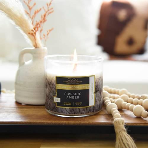 Candle-lite CLCo Candle Wooden Wick 14 oz luksusowa świeca zapachowa z drewnianym knotem ~ 90 h - No. 48 Fireside Amber