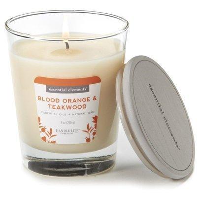 Candle-lite Essential Elements Jar Candle 9 oz świeca zapachowa sojowa w szkle z olejkami eterycznymi 255 g ~ 50 h - Blood Orange & Teakwood