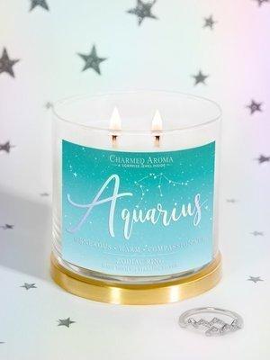 Charmed Aroma sojowa świeca zapachowa z biżuterią 12 oz 340 g Pierścionek - Aquarius Wodnik Zodiak