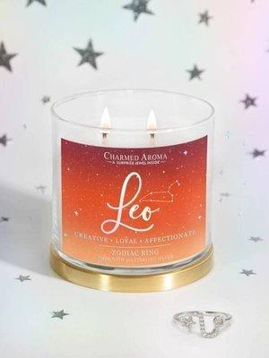 Charmed Aroma sojowa świeca zapachowa z biżuterią 12 oz 340 g Pierścionek - Leo Lew Zodiak