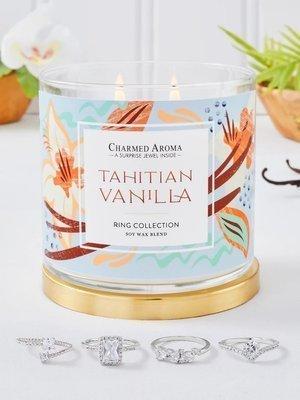 Charmed Aroma sojowa świeca zapachowa z biżuterią 12 oz 340 g Pierścionek - Tahitan Vanilla