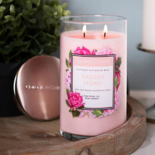 Colonial Candle duża świeca zapachowa sojowa w szkle tumbler 18 oz 510 g - Garden Peony