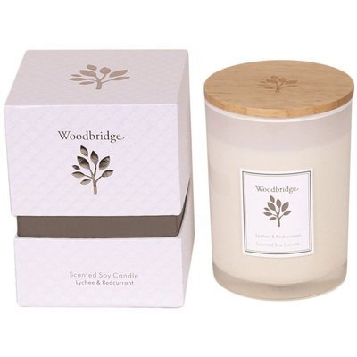 Woodbridge świeca zapachowa sojowa w szkle 270 g pudełko - Lychee & Redcurrant