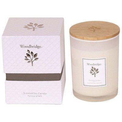 Woodbridge świeca zapachowa sojowa w szkle 270 g pudełko - Pomegranate
