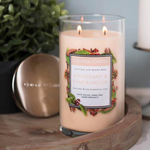 Colonial Candle большая, ароматная соевая свеча в стакане для стакана 18 унций 510 г - Mahogany & Sandalwood